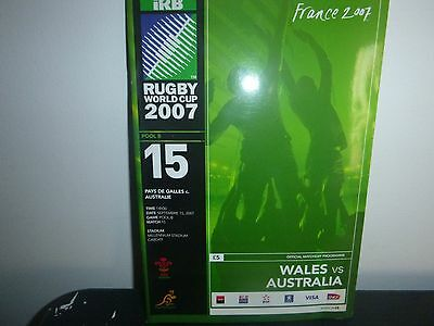 Rugby World Cup 2007 Programme Wales V Australia