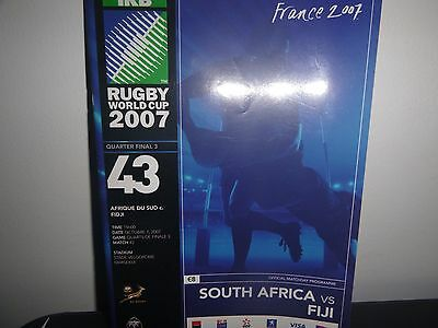 Rugby World Cup 2007  Quarter Final Programme South Africa V Fiji
