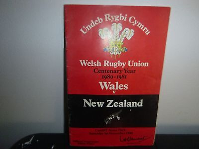 Wales V New Zealand Rugby Programme 1980