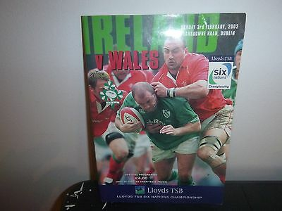 Ireland V Wales Rugby Programme 2002