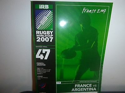 Rugby World Cup 2007  3Rd Place Match Programme  France V Argentina