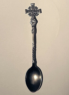Vintage Jerusalem Cross Handle Silver Collectible Spoon