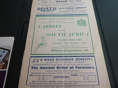 Cardiff V South Africa Rugby Programme 1951