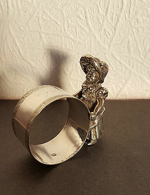 Antique EPNS NOVELTY NAPKIN RING with GIRL CHILD - SPURRIER & CO. - 114g