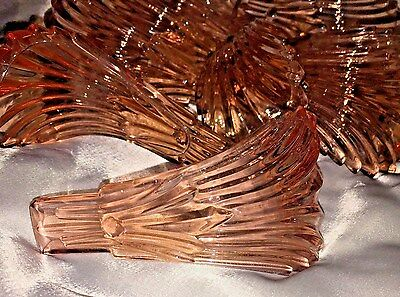 ANTIQUE CHANDELIER PINK GLASS SLIP SHADE LEAVES, SET OF 10, ART DECO or NOUVEAU