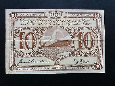 GREENLAND 1953 10 KRONER bank note HUMPBACK WHALE BLOWING great artwork  VF RARE