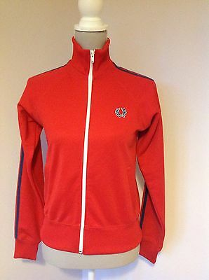 fred perry red tracksuit top size 10 good condition