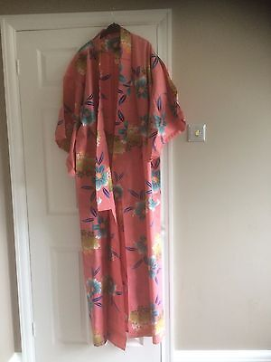 Japanese Cotton Kimono with Belt and Slippers – Brand New