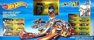 Hot Wheels Nitrobot Attack Deluxe set includes 18 cars