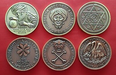 Lot Of 6 Different Good Luck Tokens