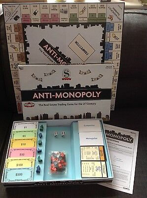 ANTI - MONOPOLY The Real Estate Trading Game For The 21st Century! Used once.