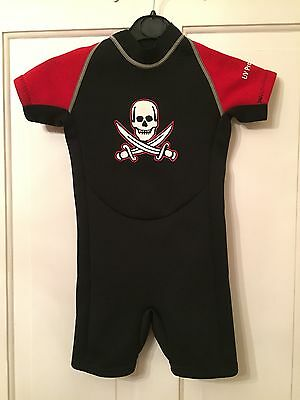 Two Wet Feet Kids Shorty Wetsuit - Size 2 Red/black