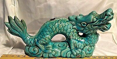 "VINTAGE MING BLUE DRAGON SCULPTURE 18"" LONG CIRCA 1960-80s, LARGE BEAUTIFUL BLUE"