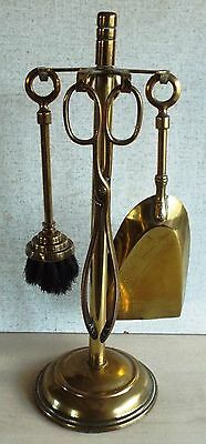 Small Set Vintage Solid Brass Fire Irons Height 14 1/2 Inches