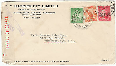 Dec 1941 Censor reseal cover NSW to USA