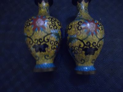 Old pair of cloisonne vases