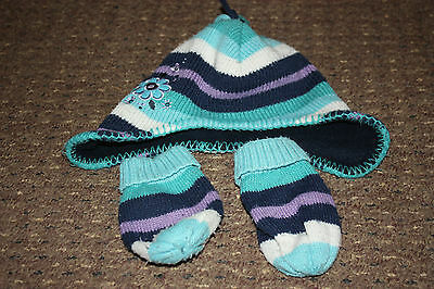 Blue stripy TU hat and mittens set. Age 1-2 years