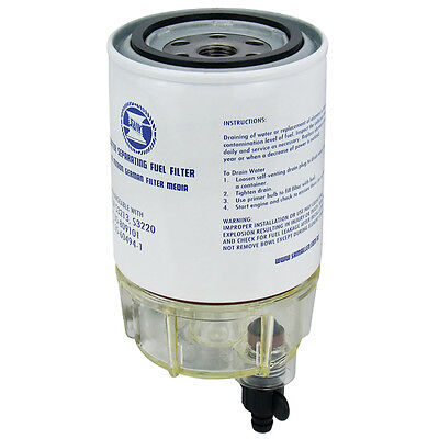 MARINE BOAT UNIVERSAL MERCURY WATER SEPARATING Fuel Filter With Clear Bowl