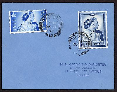 GVI 1948 silver wedding FDC 26 Ap 1948 First Day Cover used in Belfast Ireland