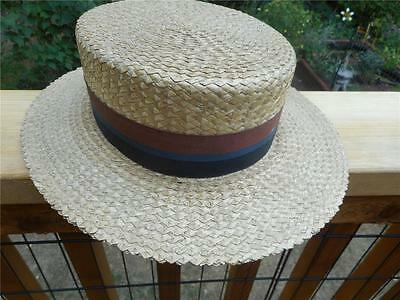 Wright Straws~Hand Crafted  Men's Straw Boater Hat Size 7~Vintage