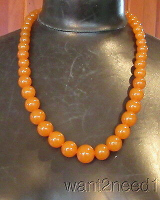 """vtg genuine RUSSIAN AMBER NECKLACE 25"""" opaque butterscotch graduated beads 68g"""