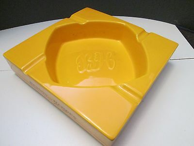 Large Benson and Hedges Square Yellow Pottery Pub Ashtray Advertising