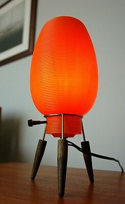 Mid-Century Modern Atomic Space-Age ORANGE TRIPOD BEEHIVE ROCKET TABLE LAMP