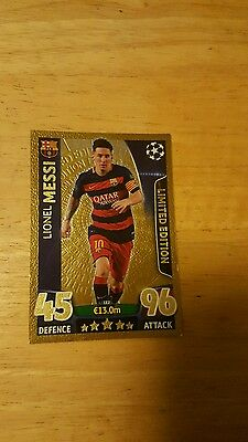 Topps match attax  messi gold   limited edition champions league 15/16