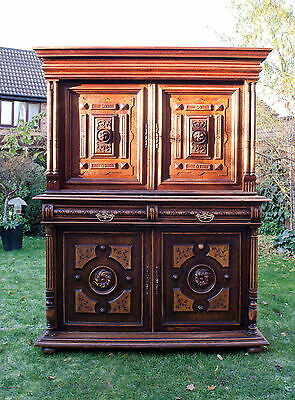 French Antique 19C Oak Carved Ornate Buffet Dresser for Shabby Chic Project