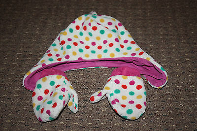 white and pink spotty fleece hat and mittens set. Age 1-3 years