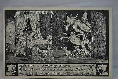 A Cornish Litany Ghouls Ghosts Couple in Bed Fright Postcard Unposted