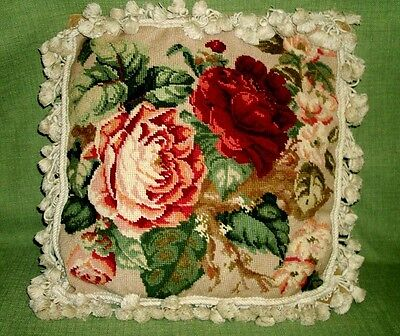 """Vintage Handmade FLORAL NEEDLEPOINT Finished With Fringe 16"""" by 16"""""""