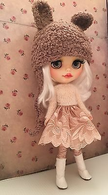 Blythe Doll Outfit-Handmade Embroidered Lace Skirt, Mohair Knitted Top & Hat Set