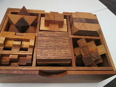 Wooden Brain Teaser 3D Puzzles X Six in a Box Cube, Star, Comet