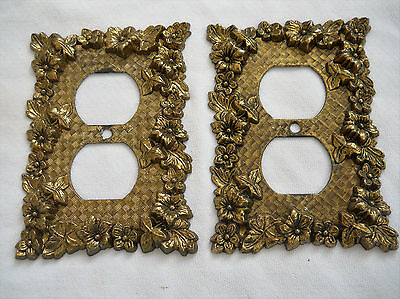 Vintage Floral Motif Metal Receptacle Plate Covers.lot Of (2)