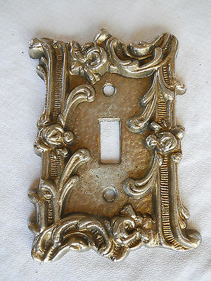 Vintage Rose Motif Metal Single Switch  Plate Cover.