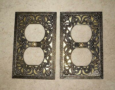 VINTAGE FILIGREE  METAL OUTLET PLATE COVERS. Lot of (2)