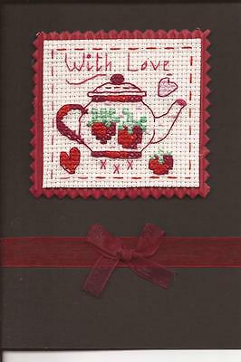 "Strawberry teapot, ""With Love"" cross stitched card"