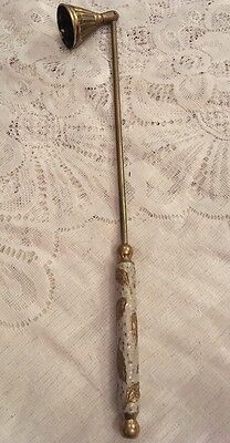 Brass Enamelled Handle Candle Snuffer Bell Shaped Snuffer Swivel End