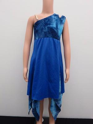 Dance Costume Large Child Tie Dye Blue Lyrical Modern Solo Competition Pageant