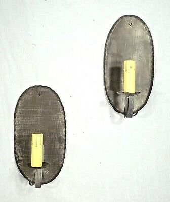 VINTAGE PAIR OF EARLY 20th CENTURY CRIMPED EDGE OVAL BACK TIN ELECTRIC SCONCES
