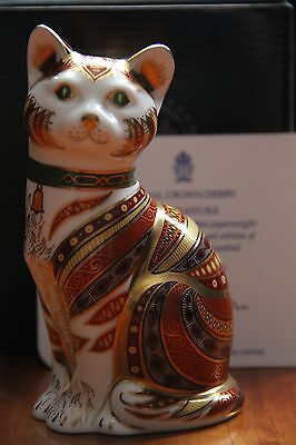 "Royal Crown Derby Paperweight ""Marmaduke Cat"" - Limited Edn Boxed Cert RARE"