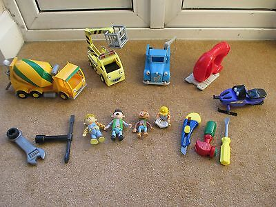 Bob The Builder Friction Powered Vehicle Bundle Some Rare, Tools & Figures