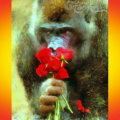 Nik Tod Original Painting Large Sign Art Modern Funny Gorilla With Bunch Flowers