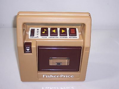 Vtg Fisher-Price Tape Recorder Player Brown #826 1980's Portable Cassette Works