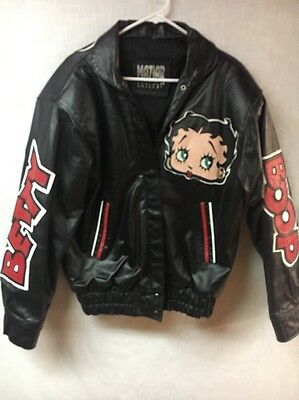 Vintage 1990's Betty Boop Rare 100% Leather Stitched Maziar Jacket