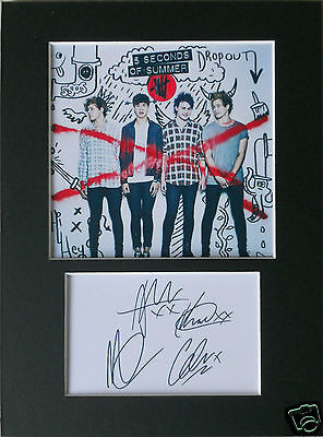5 seconds of summer signed mounted autograph 8x6 photo print display #A5s