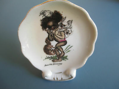 Brownie Downing Miniature Plate With Stand - Boy With Animal Friends