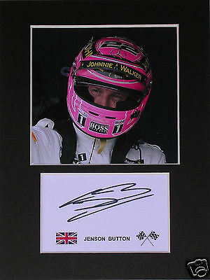 Jenson Button F1 signed mounted autograph 8x6 photo print display  #A5s
