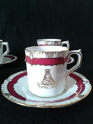 6 x ROYAL CROWN DERBY HONOR DEO DEMITASSE COFFEE CUPS & SAUCERS